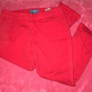 Red dress pants.